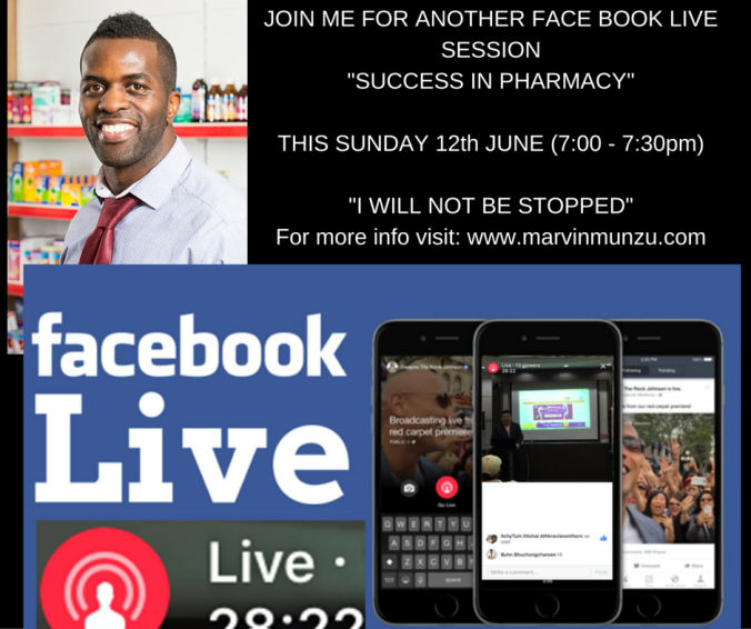 JOIN ME FOR ANOTHER FACE BOOK LIVE SESSION-SUCCESS IN PHARMACY-PART 2ACTIONS DISCOVER POWERFUL ACTIONS WHICH MOTIVATE YOU IN PHARMACYSUNDAY 12th (7-7-30 PM)FOR MORE INFO VISIT www.marvinmunzu.com (Sunday webinars) (2)